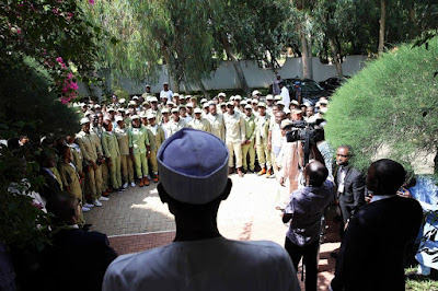 Buhari explains why NYSC is necessary, as corps members' flooded his residence in Daura