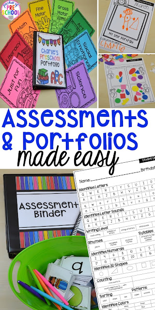 Make assessments & portfolios easy and manageable! Just print, assess, record, and file! Perfect for preschool, pre-k, and kindergarten.