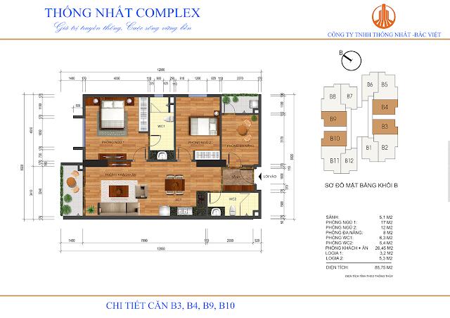 Thiết kế căn B3-B4-B9-B10 tòa B chung cư Thống Nhất Complex