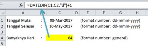 Contoh Rumus Excel Datedif Menghitung Jumlah Hari