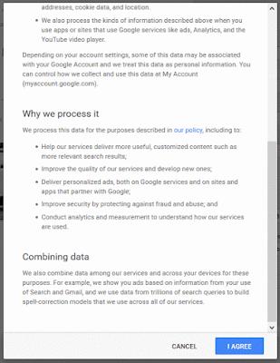 Terms of Services ketika mendaftar Gmail