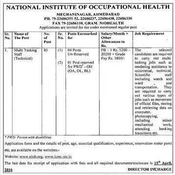 NIOH Ahmedabad Multi Tasking Staff Recruitment 2016