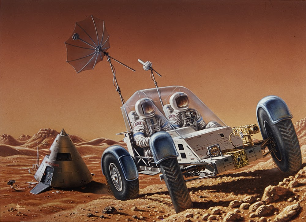 Retro style Mars rover by David A. Hardy