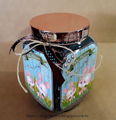 Pote de vidro decorado para Páscoa