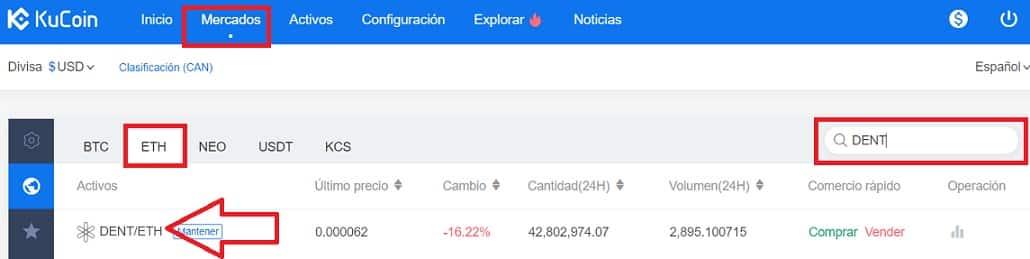 Mercado de cambio ethereum por DENT criptomonedas