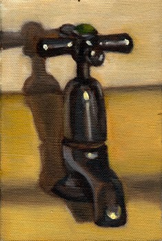 Oil painting of a mid-twentieth-century-style tap attached to a lemon basin.