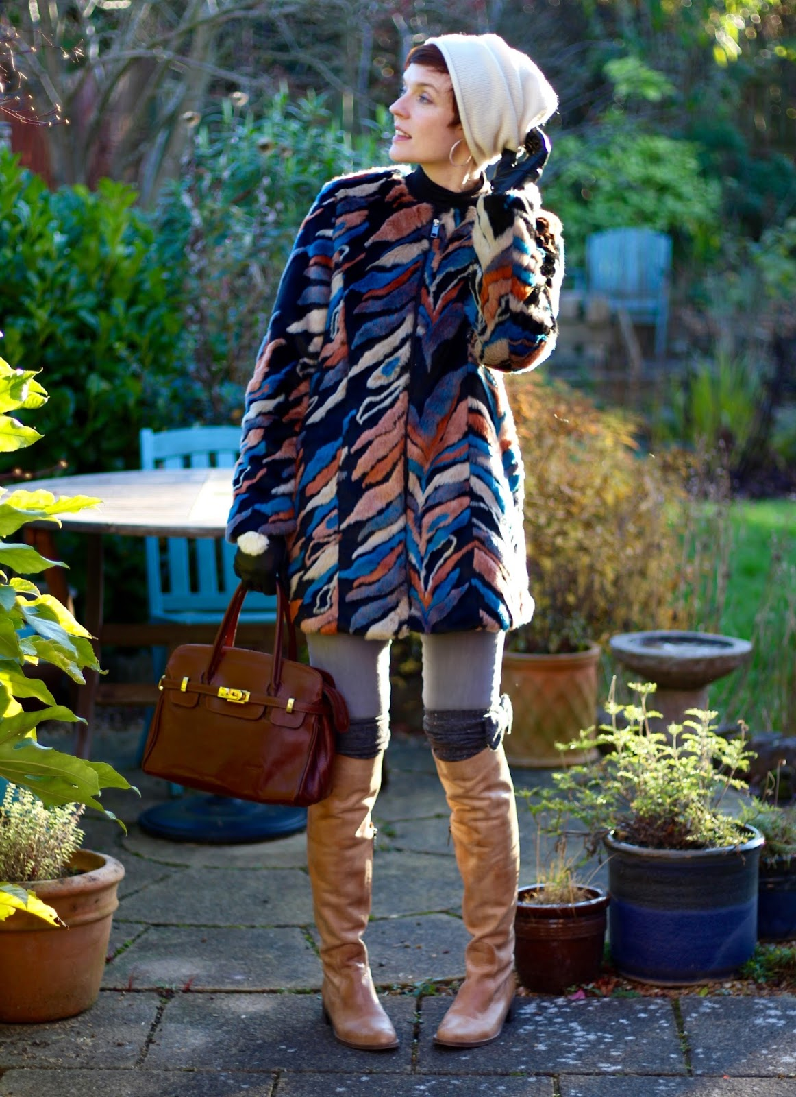 Multi-coloured Fur coat, OTK boots & cashmere hat | Fake Fabulous