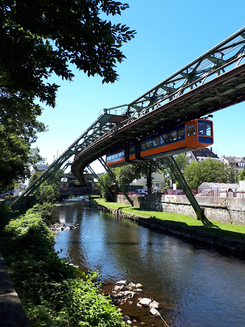 Schwebebahn in action over the Wupper river in Wuppertal