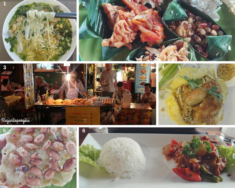 1. Sopa de fideos o pho bo en Vietnam. 2. Degustación de platos balineses en Indonesia. 3. Puesto de comida callejera en Khao San Road en Bangkok, Tailandia, junto a sus comensales. 4. El plato más famoso de Tailandia: Pai Thai (en versión gourmet) 5. Galleta de arroz y maní frito balinés. 6. Ancas de ranas acompañadas de verduras y arroz en la calle Pub Street en Siem Riep, Camboya