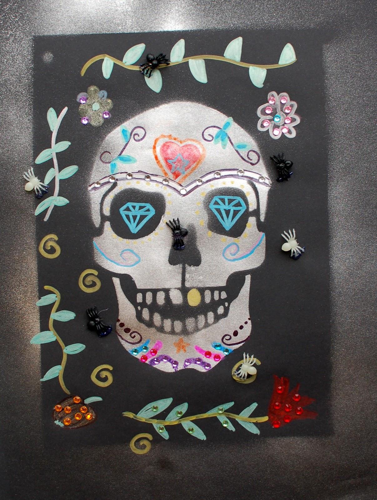 Sunnyside Art House: Stenciled Sugar Skulls and Black Cats