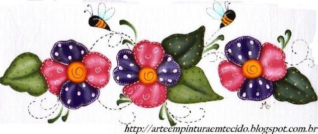 pintura em tecido pano de prato country flores