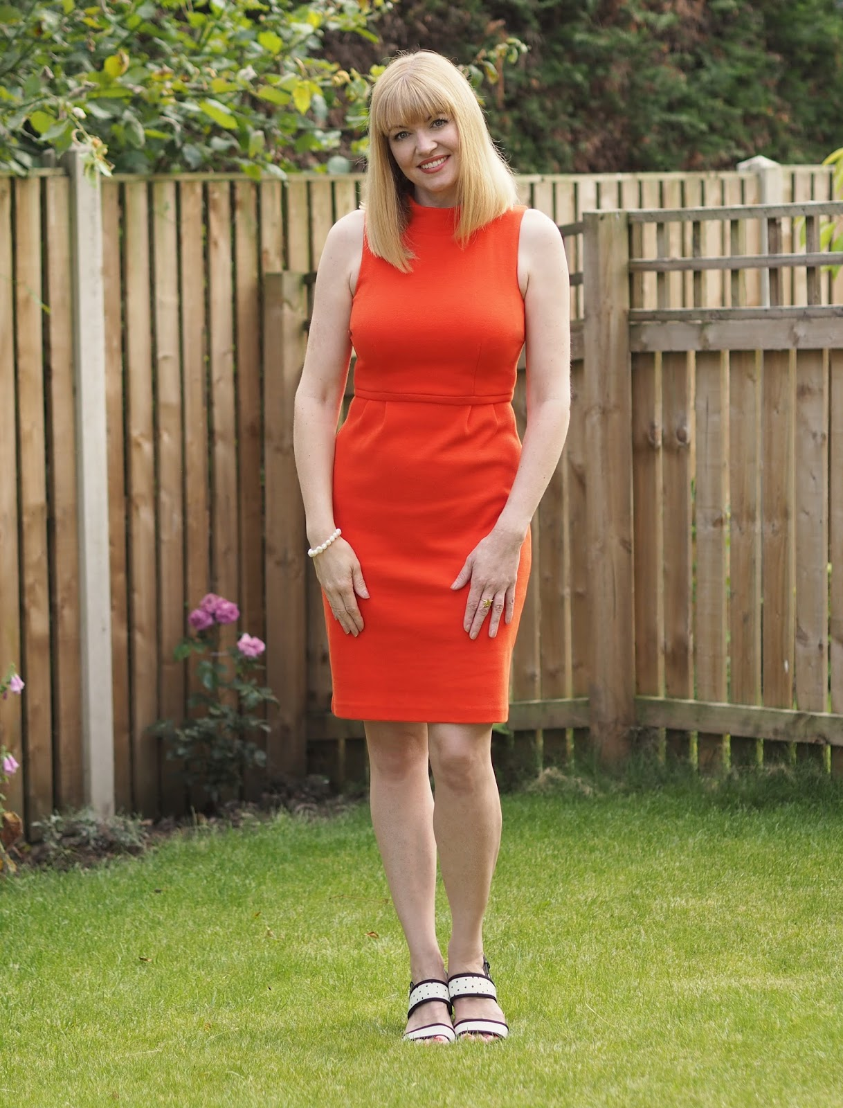 Boden red sixties style dress, over 40