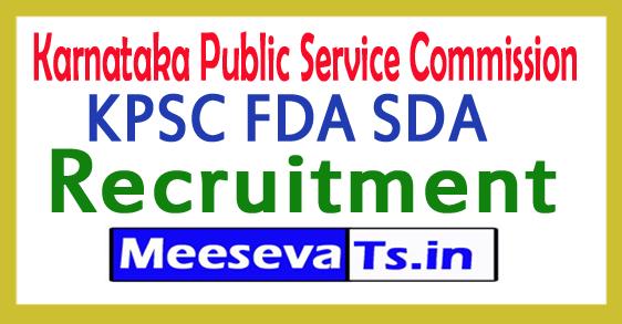 Karnataka Public Service Commission KPSC FDA SDA Recruitment 2017