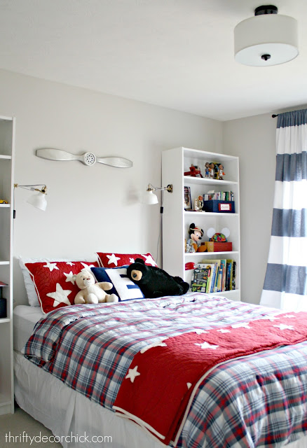 red and blue boy room