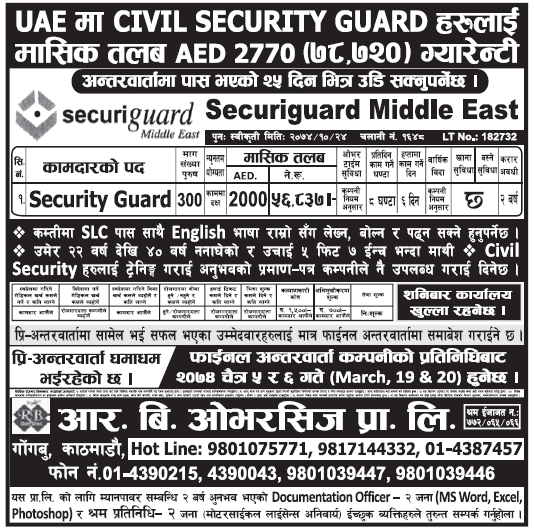 Security Guard jobs in UAE for Nepali, Salary Rs 56,837
