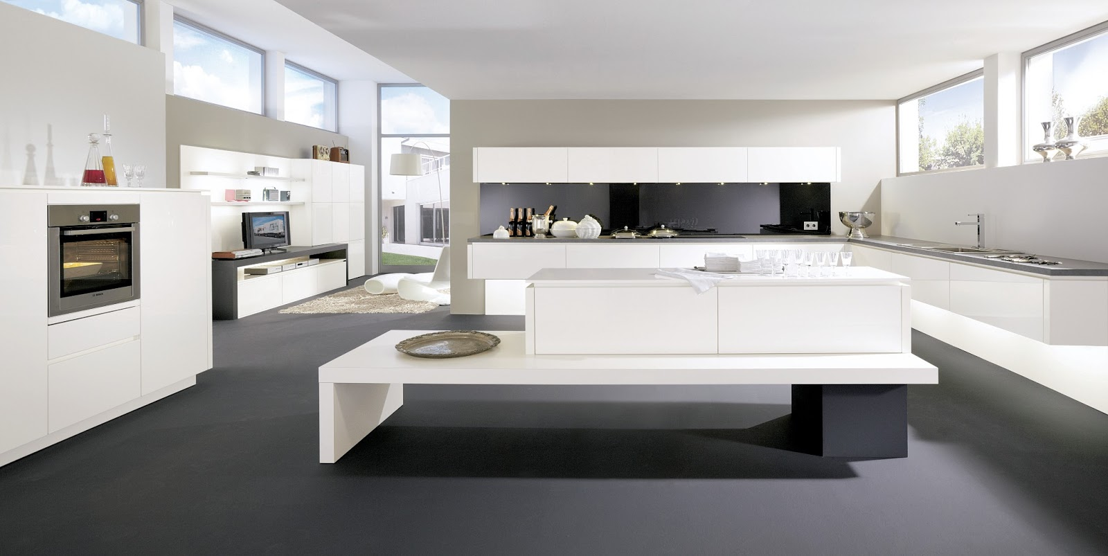 cuisine moderne ouverte sur composition de salon. Black Bedroom Furniture Sets. Home Design Ideas