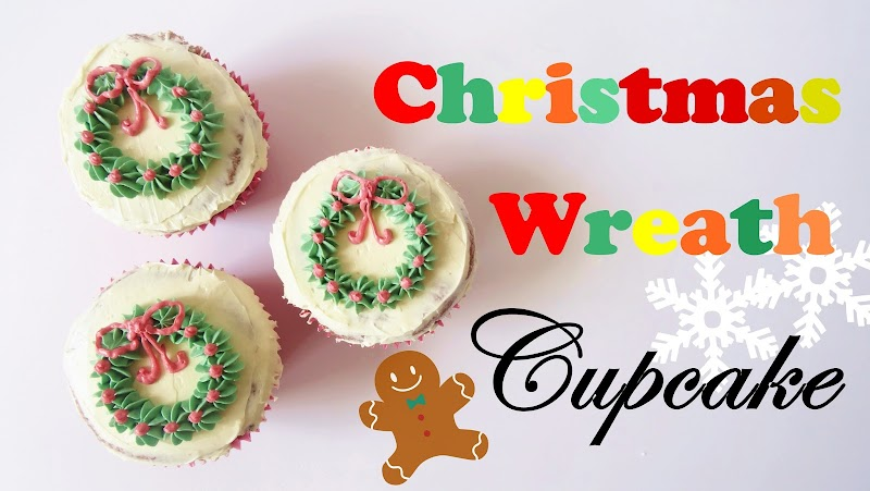 Christmas Wreath Cupcake 聖誕花圈杯子蛋糕