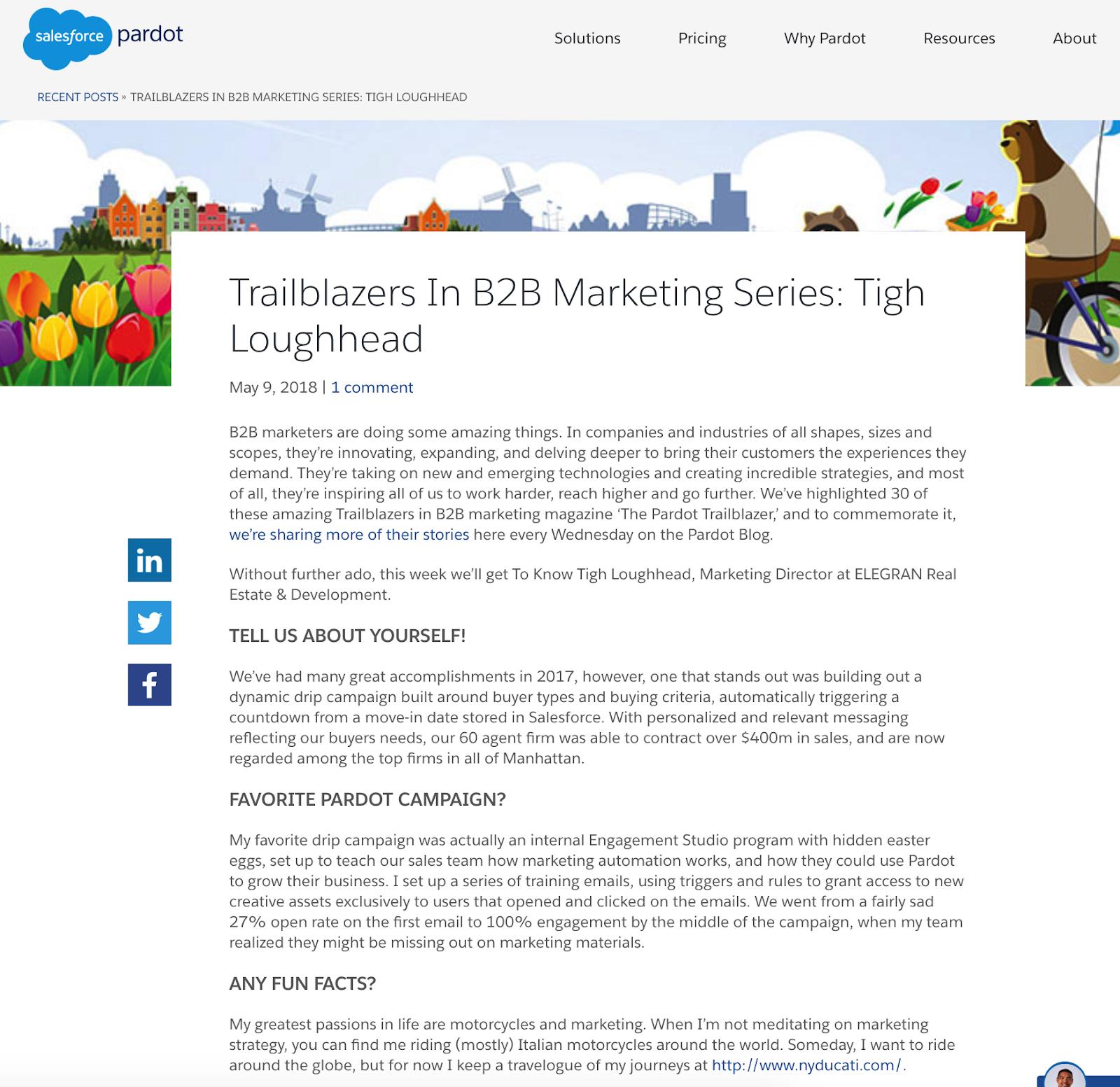 Salesforce Pardot Trailblazers In B2B Marketing Series: Tigh Loughhead