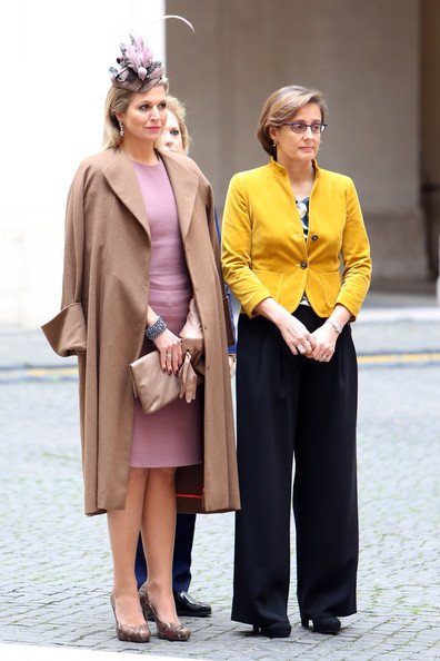 Italian Prime Minister Enrico Letta  and his wife at the palazzo Chigi in Rome
