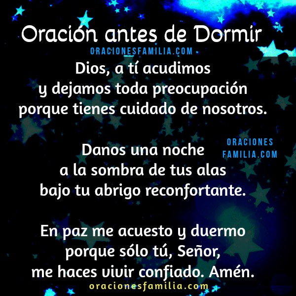 Oración de buenas noches, oraciones familia cortas para el momento de dormir, frases buena noche con plegaria por un buen sueño por Mery Bracho.