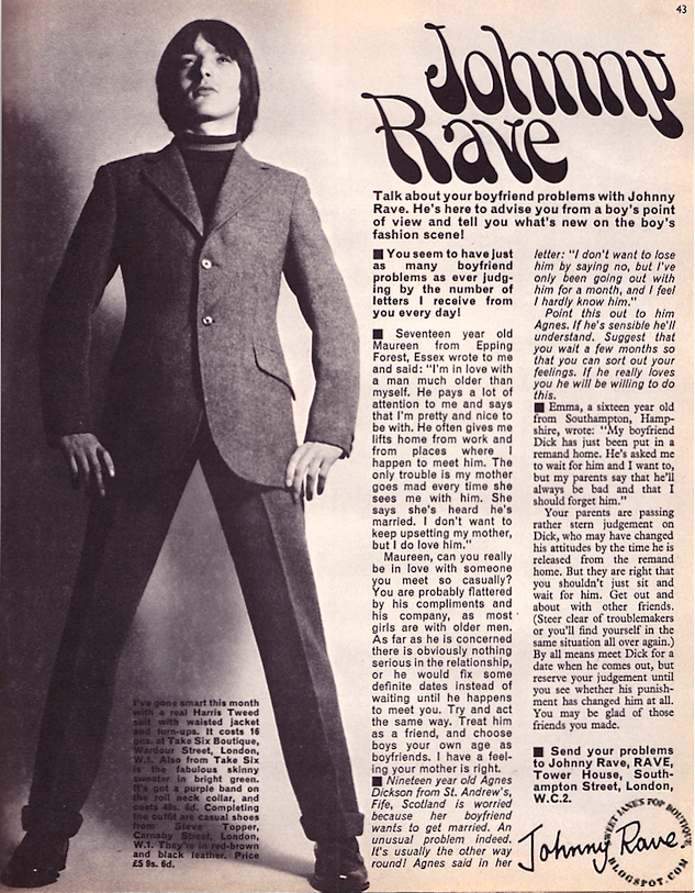 1960s men's fashion, Carnaby Street, Topper Shoes London, Rave Magazine