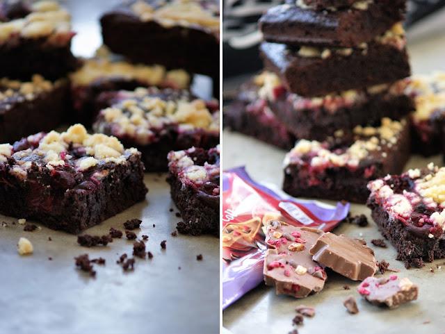 Kirsch Brownies mit Streuseln