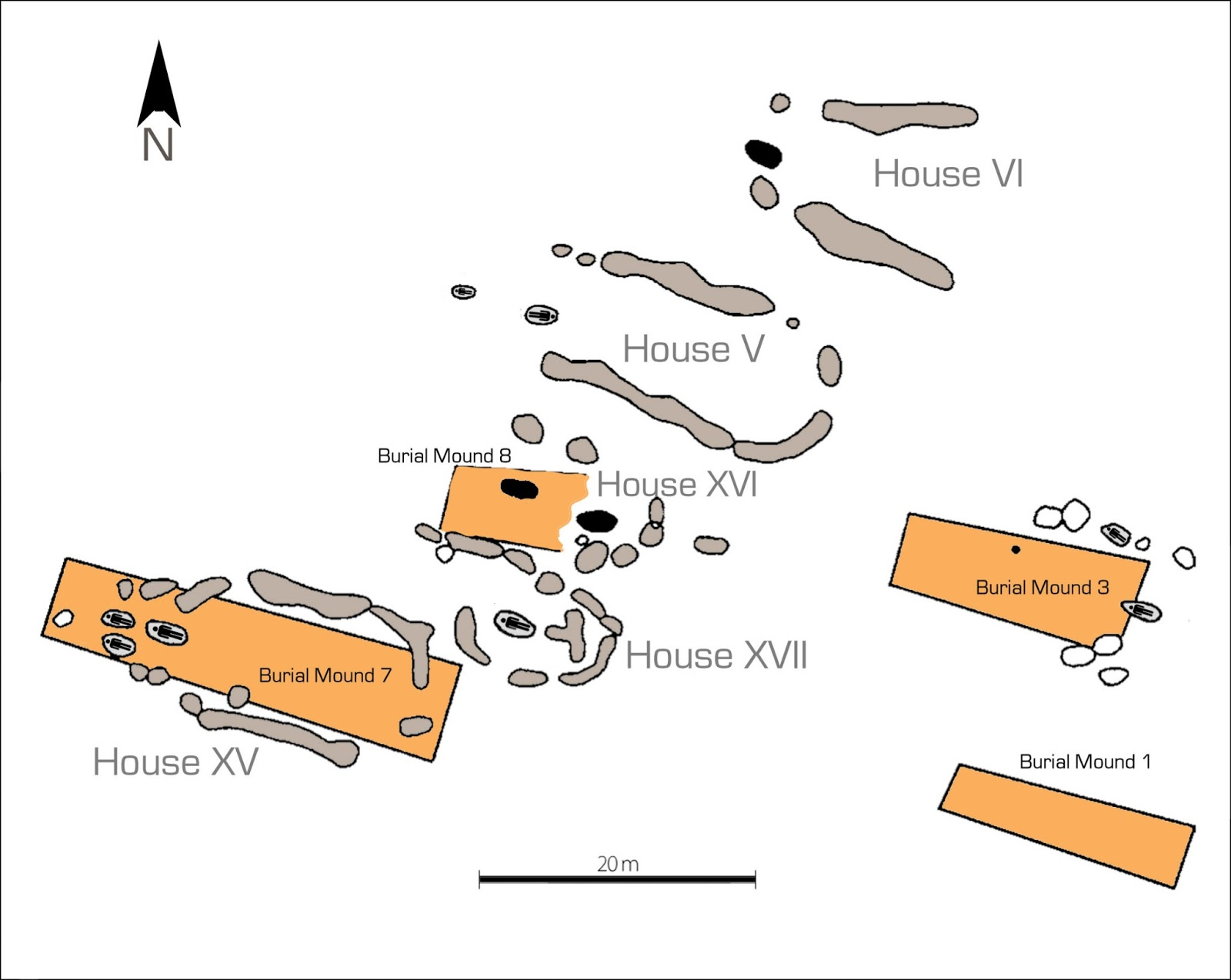 Plan of the central part of the settlement with long houses of the villeneuve saint germain culture superimposed by graves and long barrows of the cerny