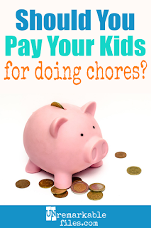 Should kids get paid a weekly allowance, or should they have to do kid chores for money to earn it? We've tried a variety of things in our household, and here's what works for us. We've finally found an allowance system that balances chores and allowance to teach our children about money by paying them for the RIGHT kinds of household jobs, instead of the wrong kind. #allowance #chores