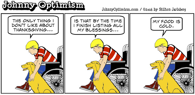 johnny optimism, medical, humor, sick, jokes, boy, wheelchair, doctors, hospital, stilton jarlsberg, thanksgiving, blessings, gratitude