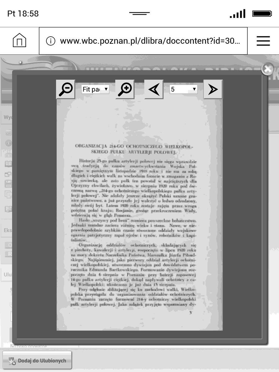 Przeglądarka internetowa w PocketBook InkPad 3 – otwarta książka z Wielkopolskiej Bibliteki Cyfrowej