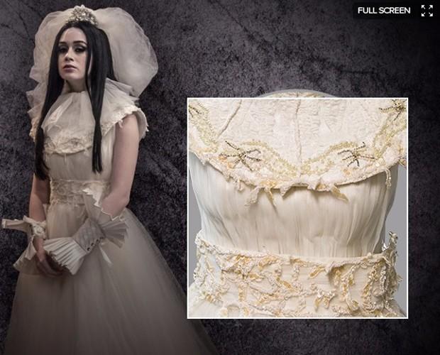 Amorteamo, Malvina (Marina Ruy Barbosa), Vestido de noiva detalhes