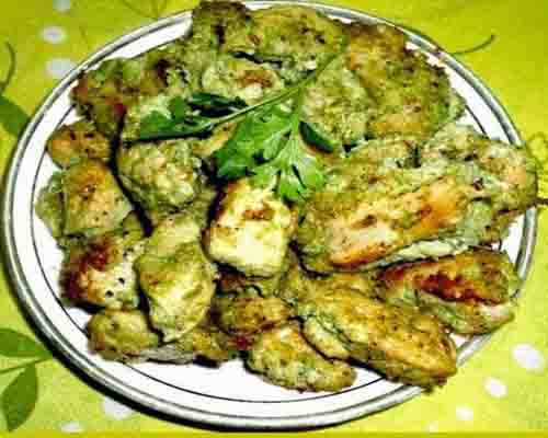 Chicken with green masala fry