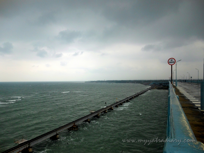 View of the Panbam Railway Bridge from the road bridge in Rameshwaram