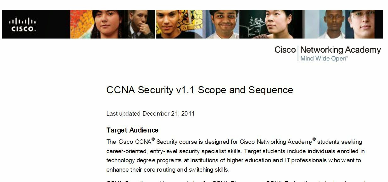CCNA Security:  Scope and Sequence