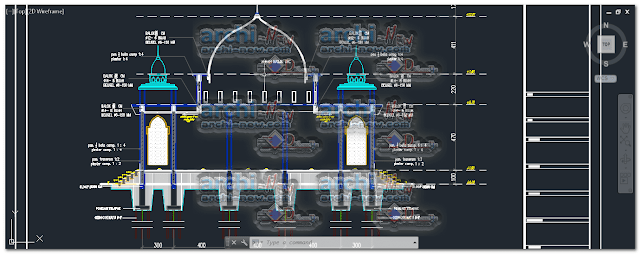 Vertical projections of the project (sections ( masjid FIX belawan mosque dwg