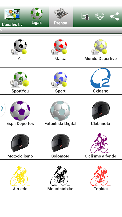 Menu prensa Futbol español
