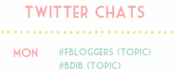 Twitter Blogger Chat timetable