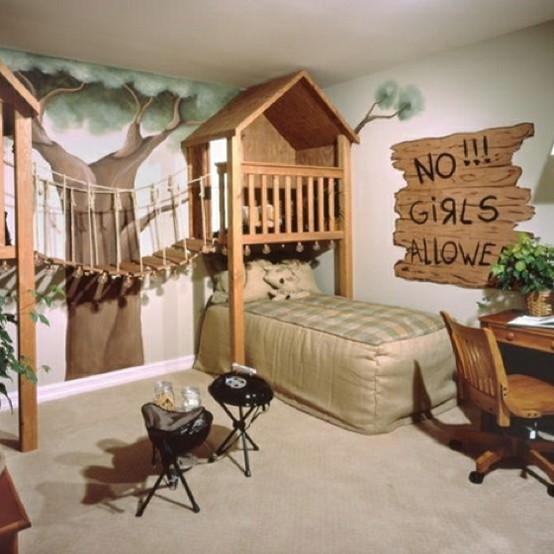 غرفة نوم No Girls alone  ,للبنات ,بسرير ورسومات و style غابة