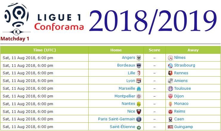 Unduh Jadwal Lengkap PNG JPG Ligue 1 Prancis 2018-2019