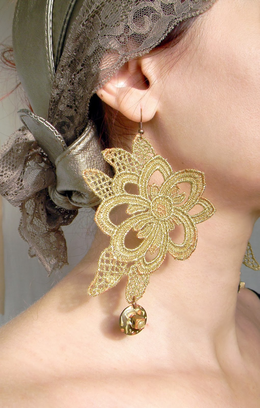 Lace Statement Earrings Golden Metallic Earrings Floral Embroidery Jewelry