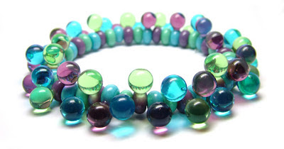 Lampwork glass stretch bracelet