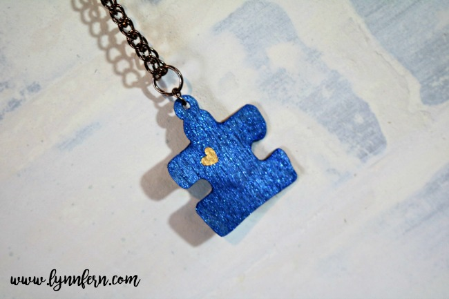 Cricut made charm, necklace, blue charm, blue puzzle piece charm
