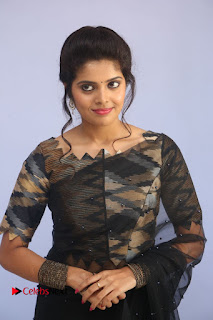 Actress Shravya Pictures in Black Saree at Nandini Nursing Home Audio Success Meet .COM 0072.JPG