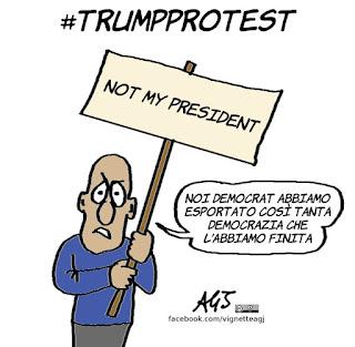 trump, trump protest, manifestazioni, democrazia, democratici americani, vignetta, satira