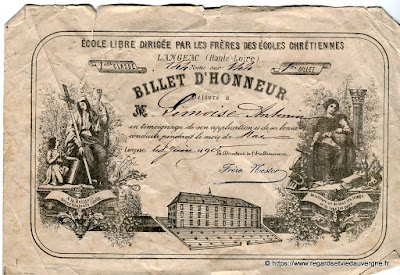 Billet d'Honneur, Langeac 1890.