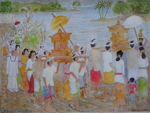 Melasti Ceremony inwards Bali is a purification ceremony in addition to ritual BaliBeaches: Melasti Ceremony Bali - Purification in addition to The Nectar of Life (Tirta Amrita)