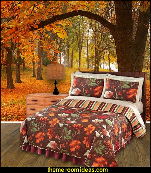 Autumn Harvest Leaves Quilt autumn wall murals fall wall murals autumn theme bedrooms