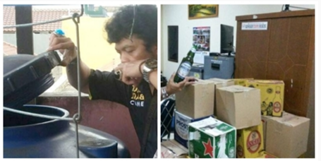 HEBOH !! Seorang Istri Polisi Simpan Ribuan Liter Miras Oplosan di Tangki Penampungan Air