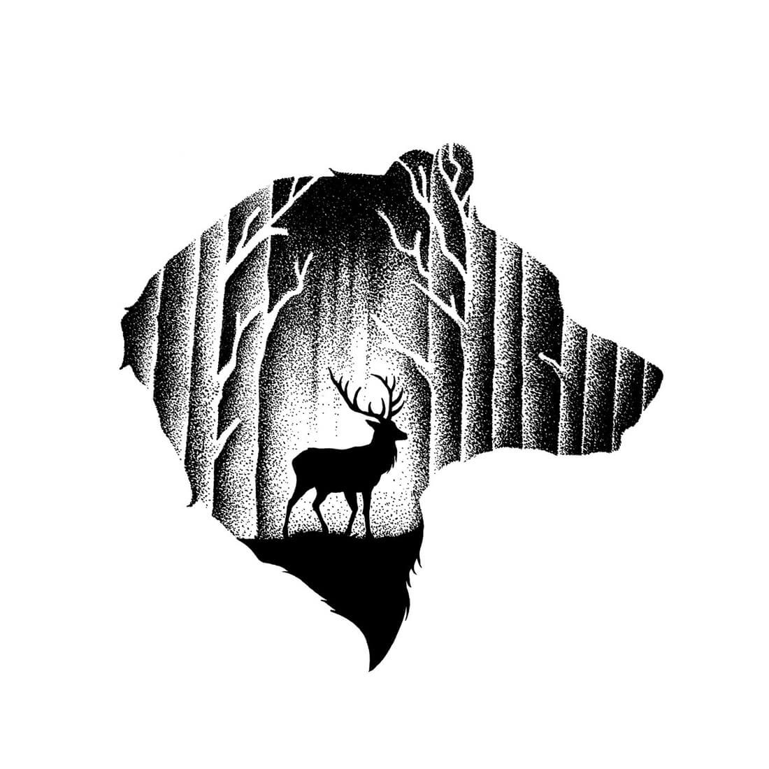 12-The-Bear-and-the-Deer-Thiago-Bianchini-Ink-Animal-Drawings-Within-a-Drawing-www-designstack-co