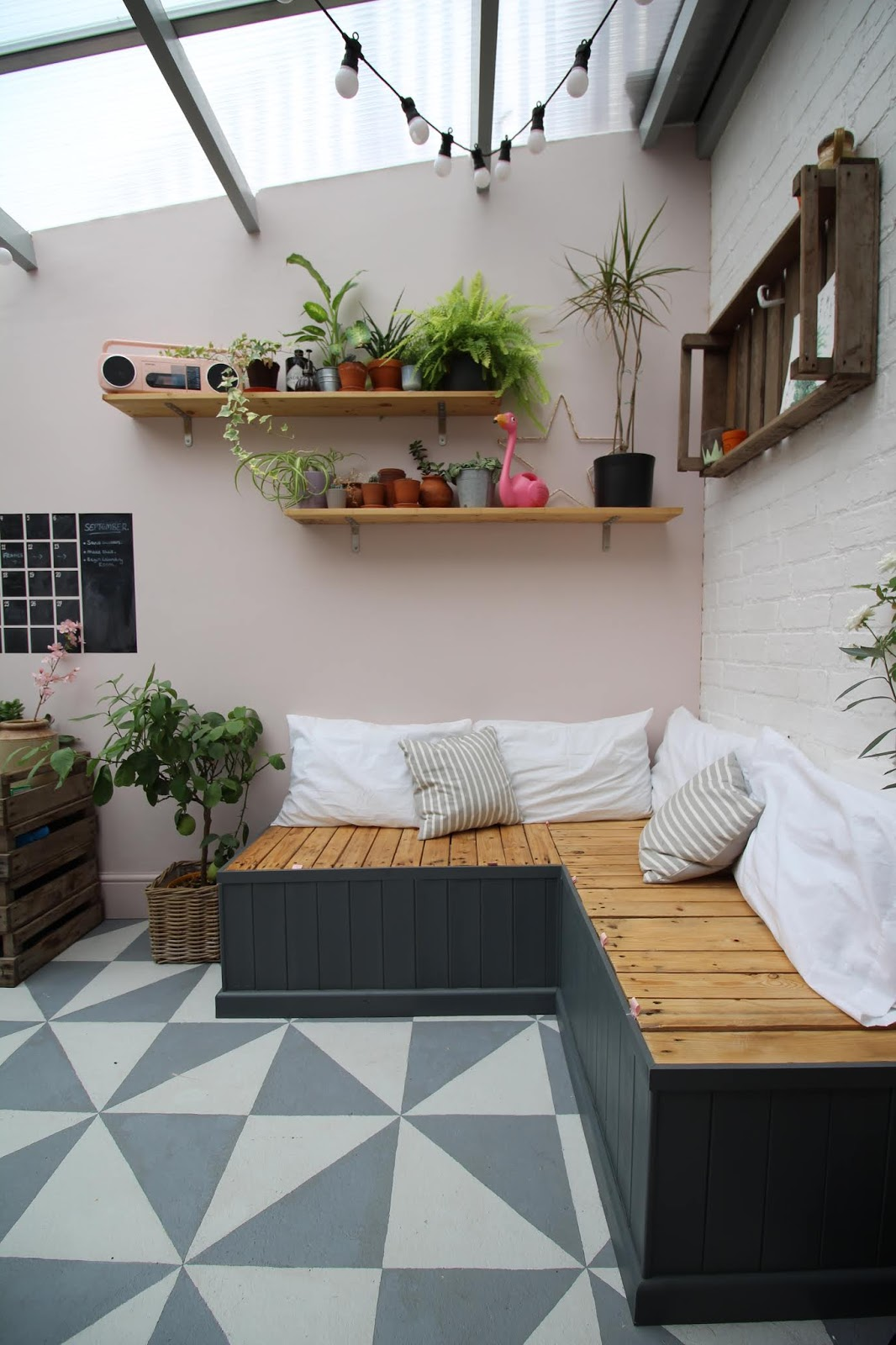 pallet seating indoors conservatory